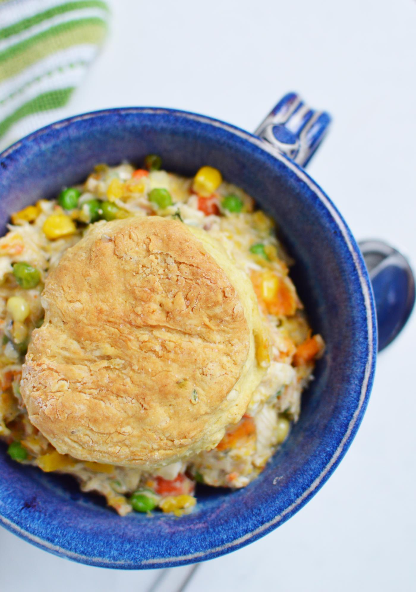 Skillet chicken biscuit pot pie recipe