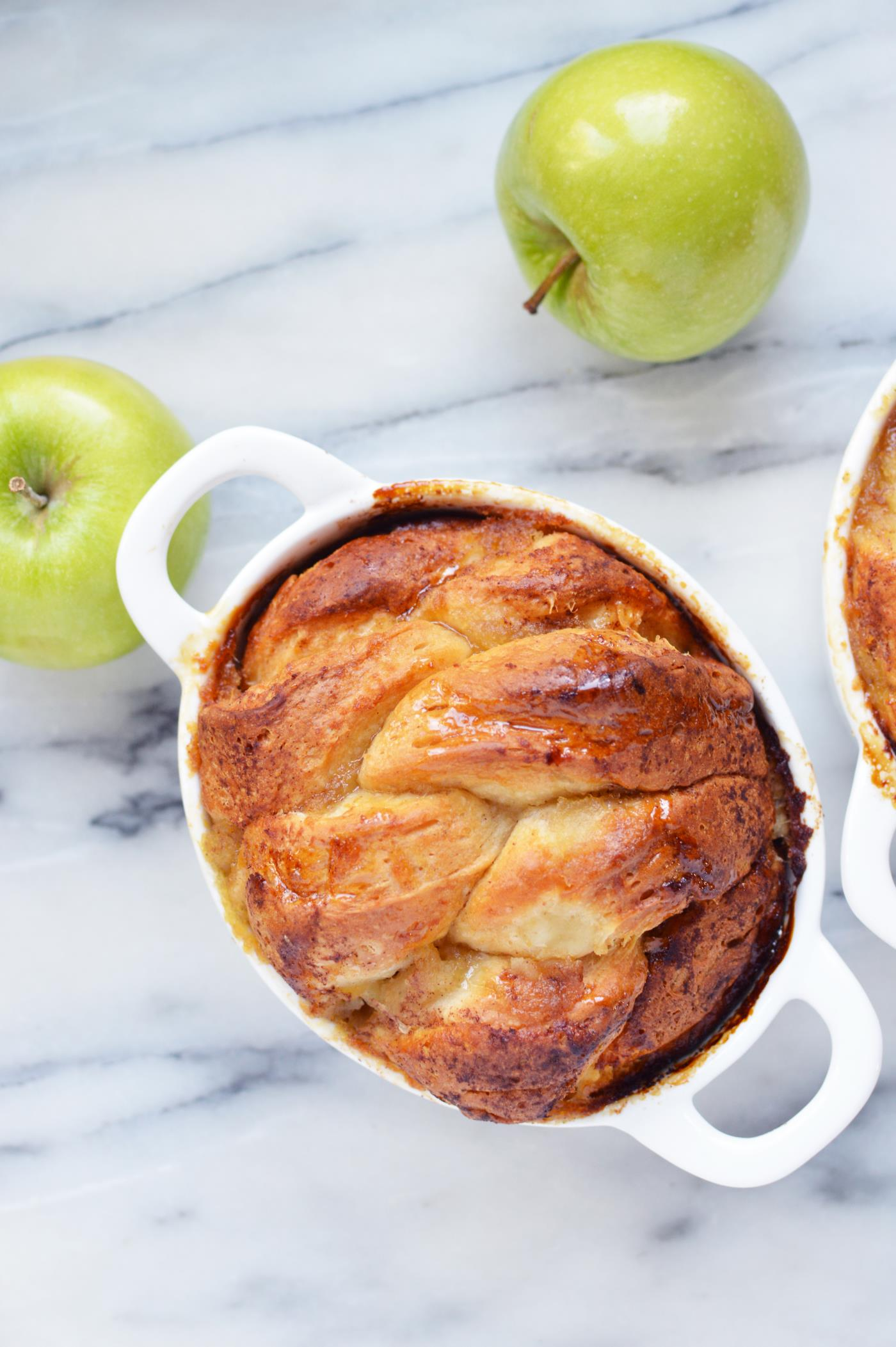 Apple pull apart bread in bakeware.