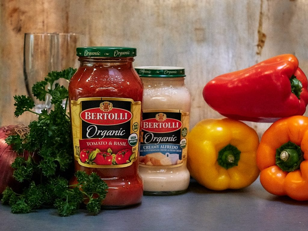 Valentine's Night In with Bertolli®: Penne Chicken and Sweet Pepper Tomato Cream Recipe