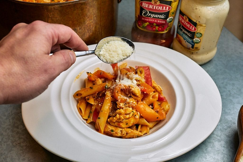 Penne Chicken and Sweet Pepper Tomato Cream Recipe