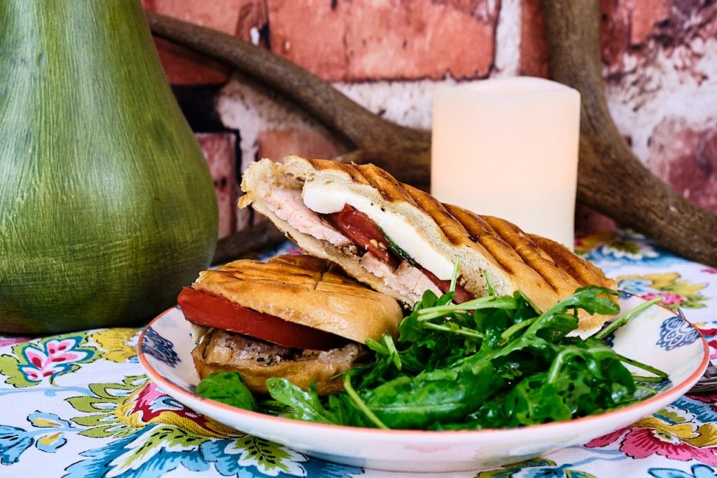 Roasted Garlic & Herb Pork Loin Caprese Panini 4